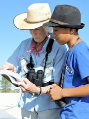 Patricia Taber helps  Angel Zeferino identify a bird at the Deming water treatment plant. (Photo: Kara Naber Photo)